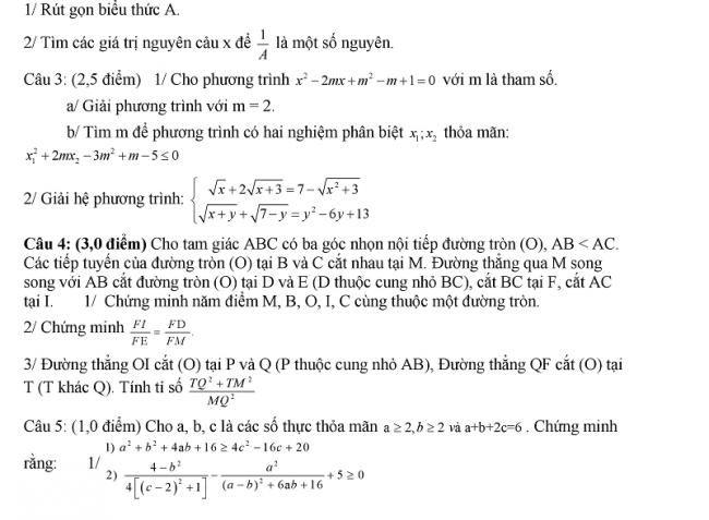 Đề thi thử môn toán vào lớp 10 trường THPT Lê Hồng Phong Nam Định 2018