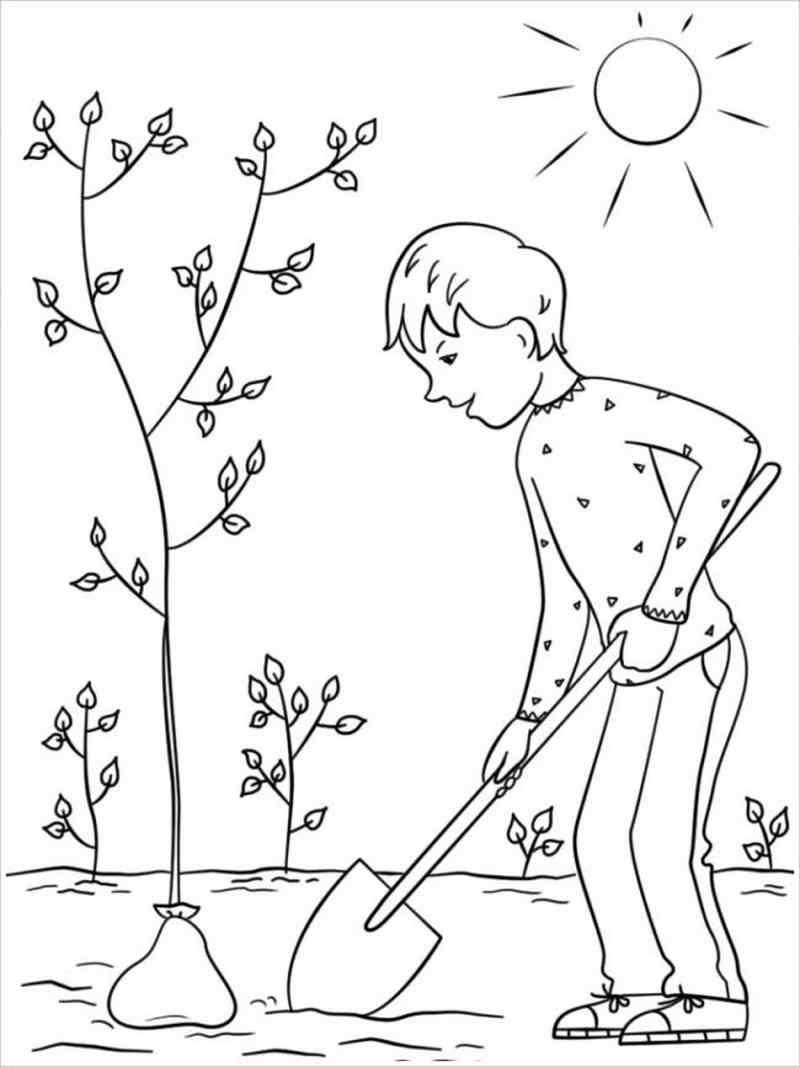 Bé xới đất trồng cây xanh