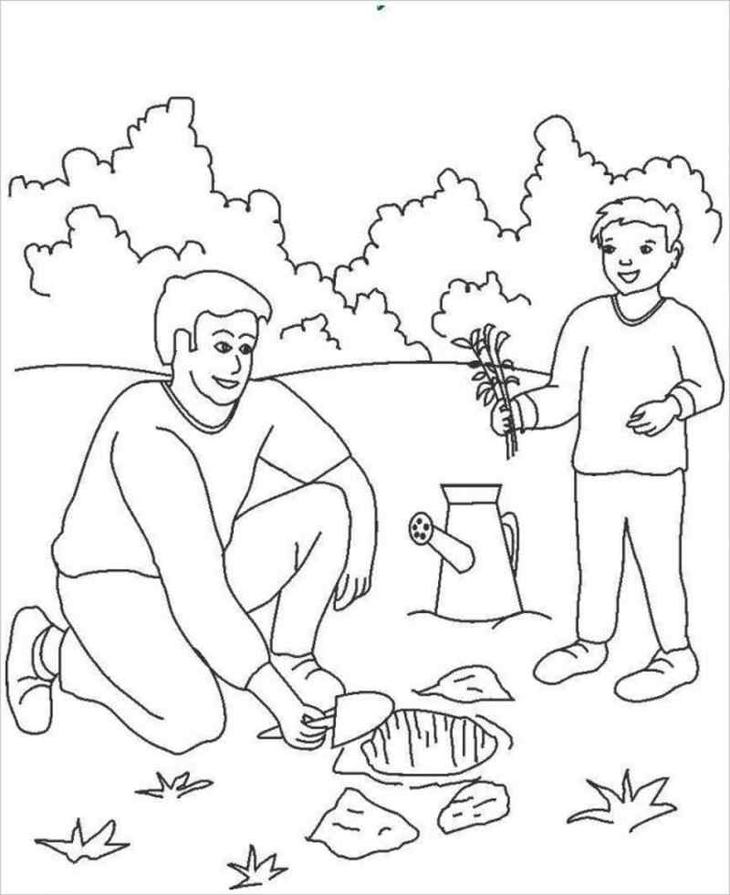 hình ảnh hai cha con cùng trồng cây