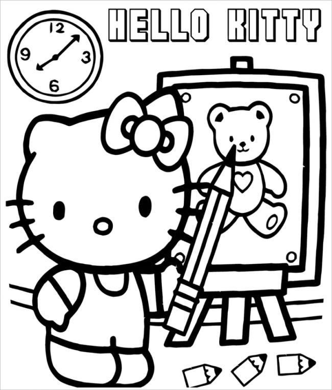 Mèo Kitty tô màu cho tranh