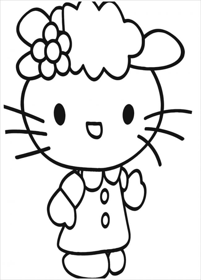 MèoKitty cài hoa lên đầu