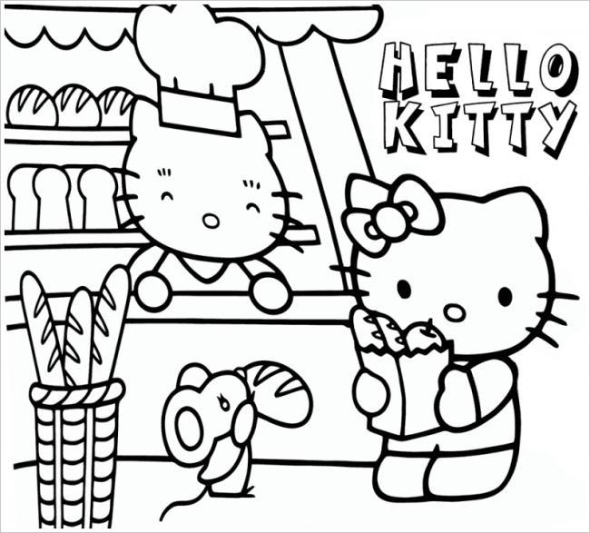 hình ảnh mèo Kitty đi siêu thị