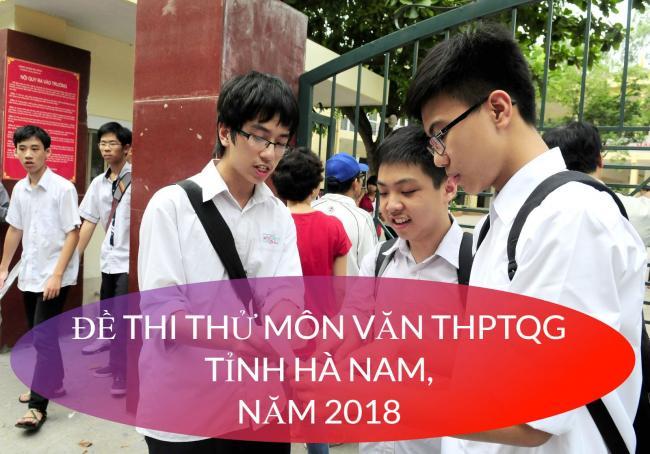 thí sinh giải đề văn thi thử THPT tỉnh Hà Nam năm 2018