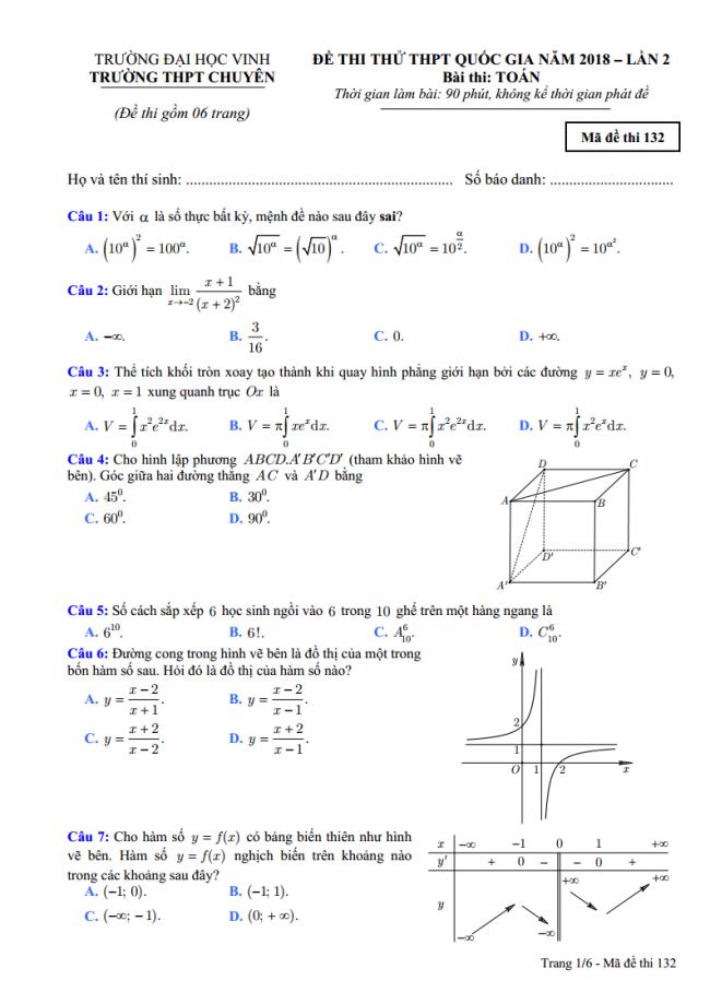 Đề thi thử môn toán trường trung học phổ thông chuyên đại học Vinh - lần 2- 2018