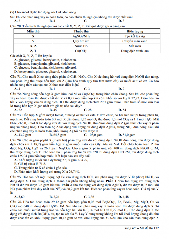 đề thi thử môn Hóa trường THPT chuyên ĐH Vinh lần 2 – 2018