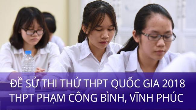 học sinh làm đề Sử thi thử THPT Phạm Công Bình, Vĩnh Phúc