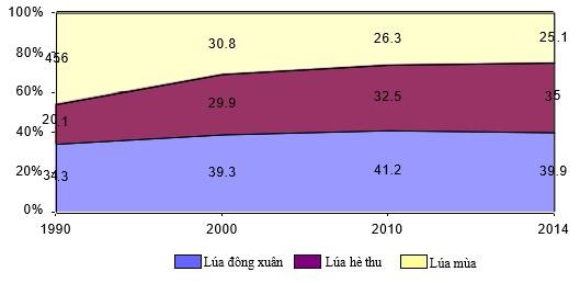 hình vẽ biểu đồ diện tích lúa nước ta giai đoạn 1990 - 2014