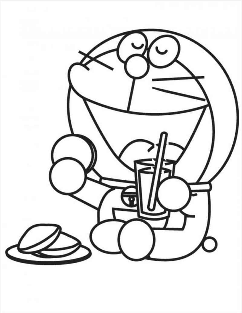 mèo máy Doremon uống sinh tố