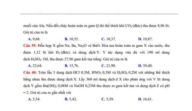 Đề thi thử THPT môn hóa Sở GD & ĐT Bà Rịa Vũng Tàu - 2018