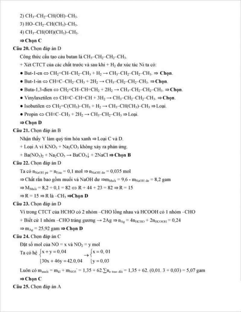 Đáp án đề thi thử môn hóa trường THPT Nông Cống - Thanh hóa lần 1- 2018