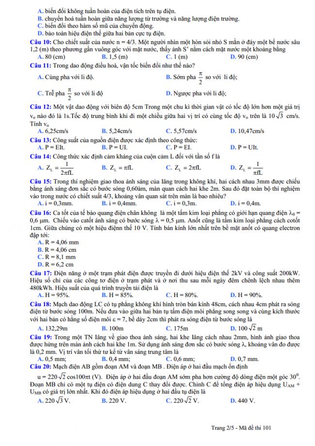 câu 10 đến 20 trang 2 đề thi thử vật lý THPT Nguyễn Viết Xuân 2018
