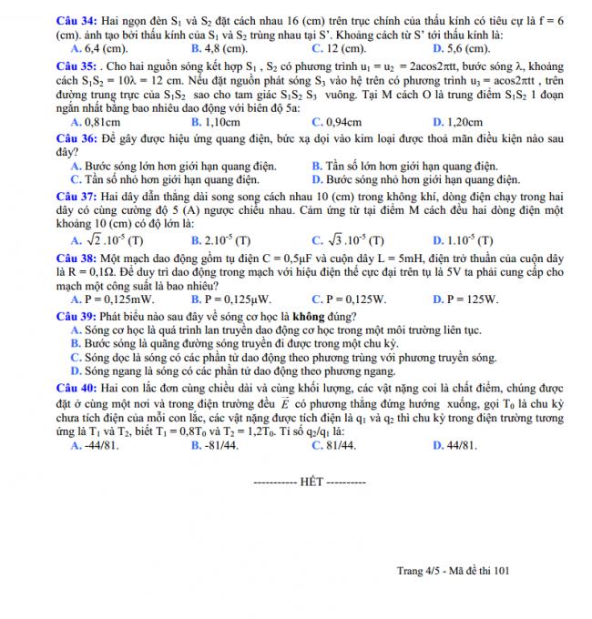câu 34 đến 40 trang 4 đề thi thử vật lý THPT Nguyễn Viết Xuân 2018