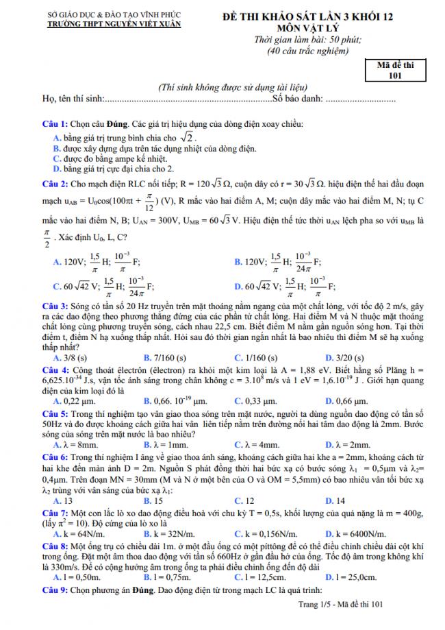 câu 1 đến 9 trang 1 đề thi thử vật lý THPT Nguyễn Viết Xuân 2018