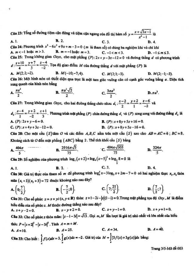 đề thi thử môn toán THPT lần 2 sở GD&ĐT Bà Rịa Vũng Tàu 2018