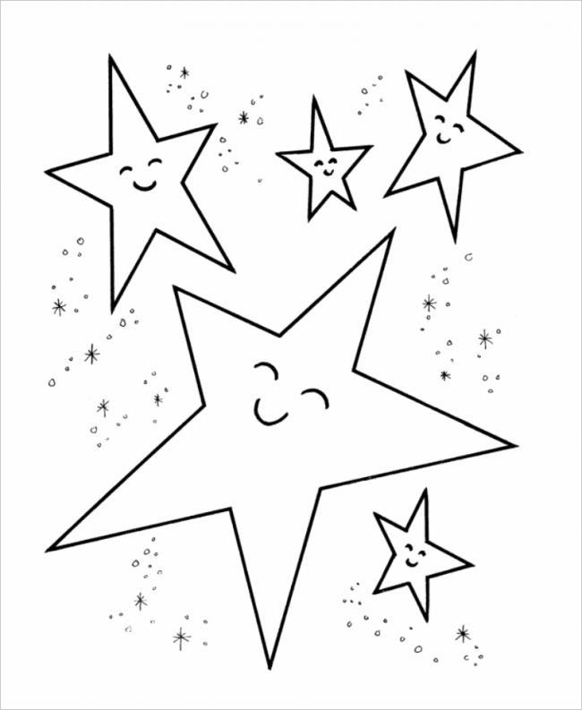 hình tô màu 5 ngôi sao