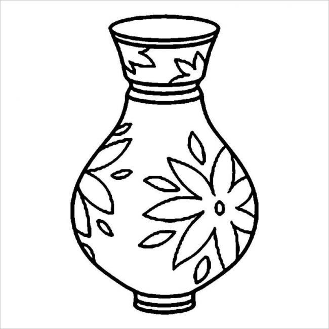 hình tô màu lọ hoa