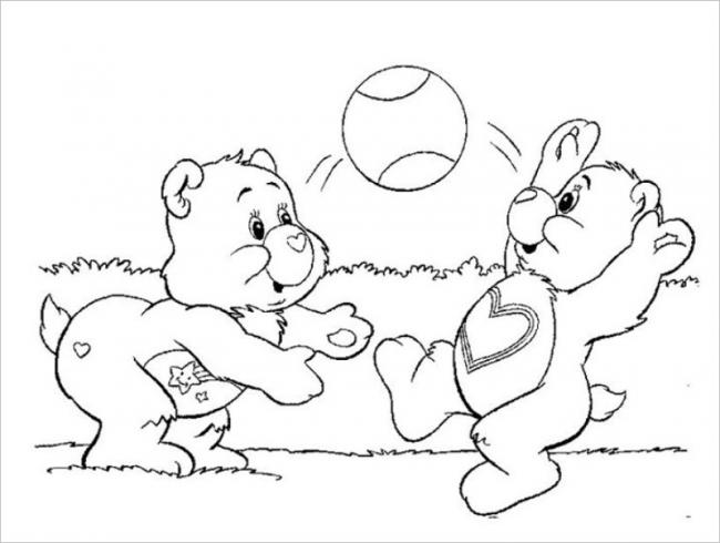 hình ảnh hai chú gấu chơi bóng