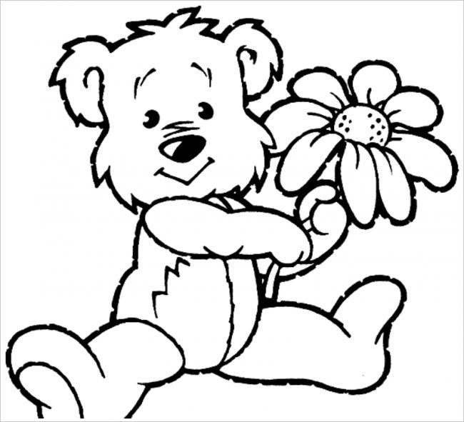 hình ảnh gấu và hoa