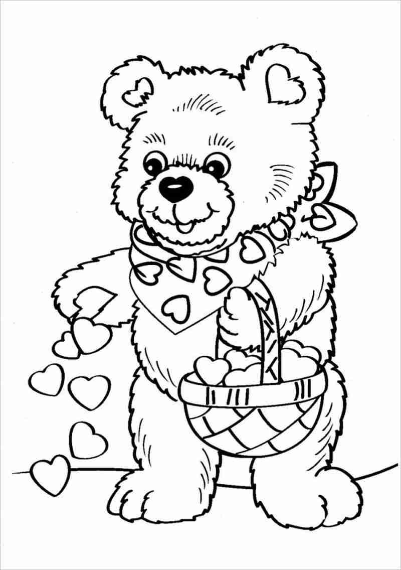 hình tô màu gấu với giỏ kẹo sô cô la