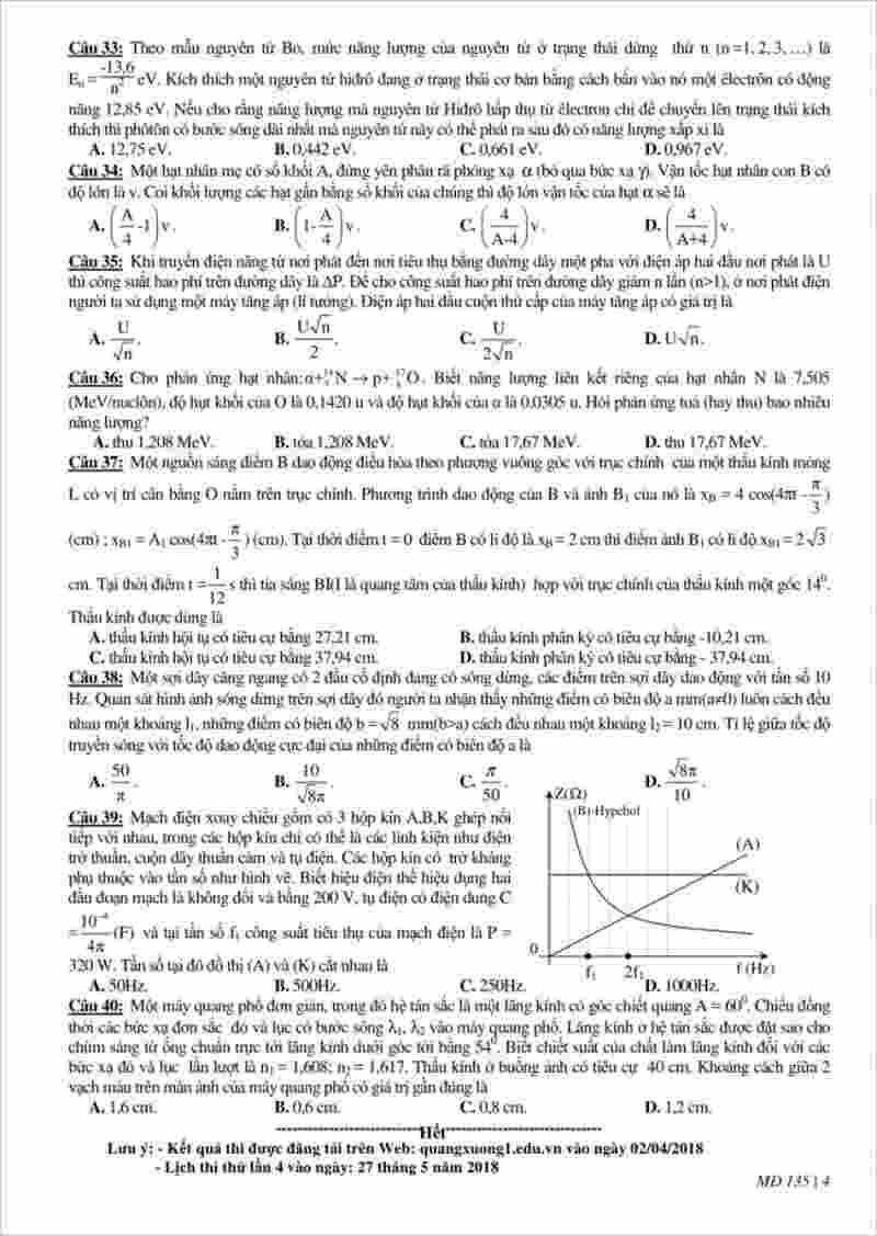 đề thi thử môn Lý THPT Quảng Xương 1 – Thanh Hóa lần 3 – 2018