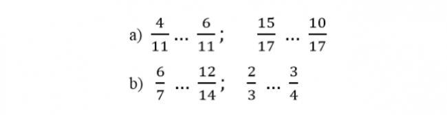 Giải bài tập so sánh hai phân số trang 7 sách giáo khoa Toán lớp 5 bài 1