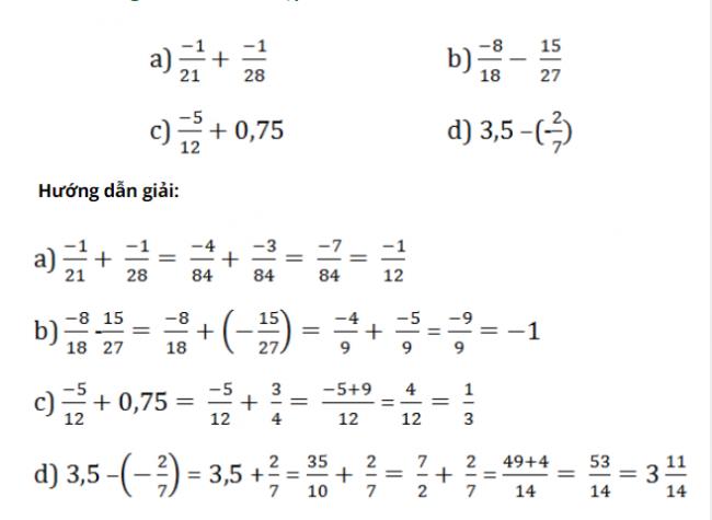 Giải bài tập toán lớp 7: Cộng, trừ số hữu tỷ trang 10 sách giáo khoa bài 6