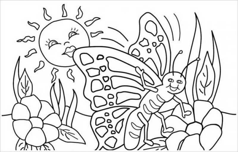 hình tô màu con bướm và hoa