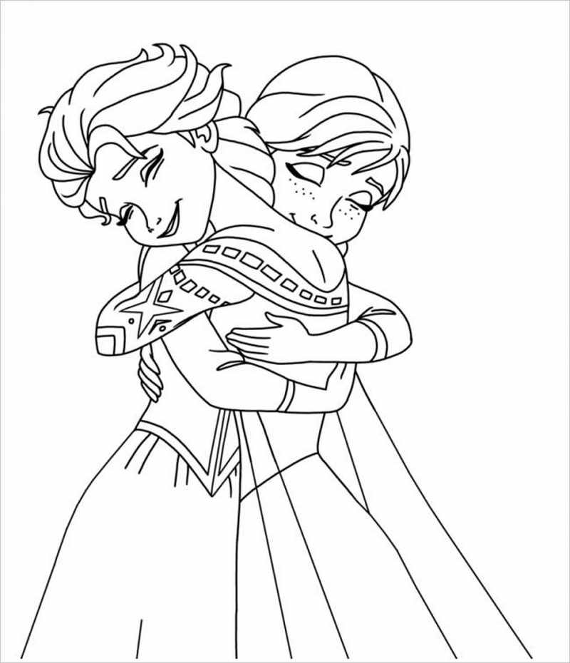 Hai chị em Anna ôm nhau