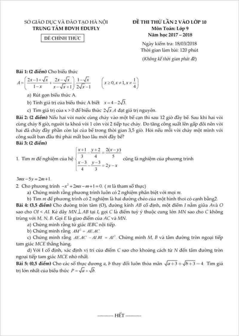 Đề thi thử môn toán vào lớp 10 năm 2018 - trung tâm BDVH Edufly