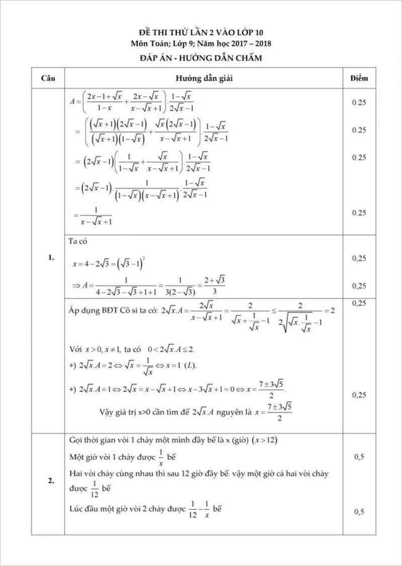 dẫn giải chi tiếtĐề thi thử môn toán vào lớp 10 năm 2018 - trung tâm BDVH Edufly