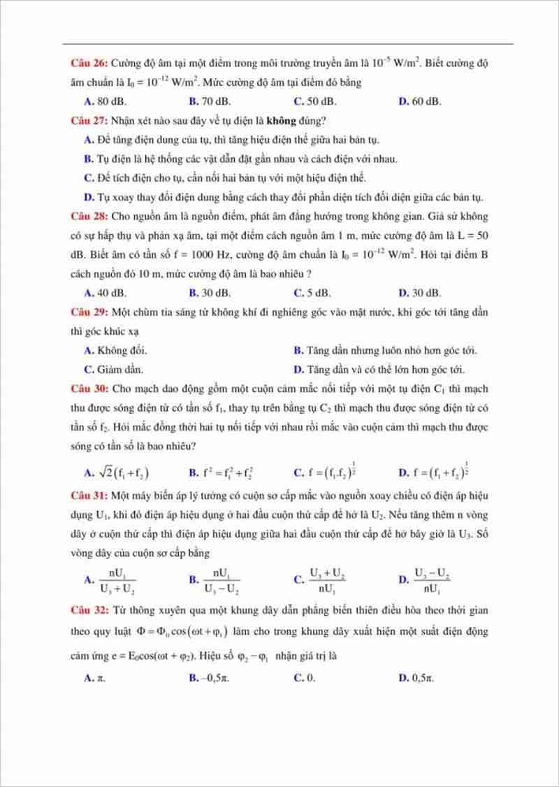Đề thi thử THPT môn lý trường chuyên Thái Nguyên lần 1 -2018