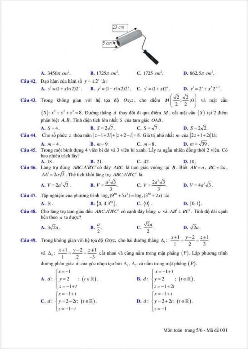 Đề thi thử THPT môn Toán trường THPT Nghèn – Hà Tĩnh lần 2 – 2018