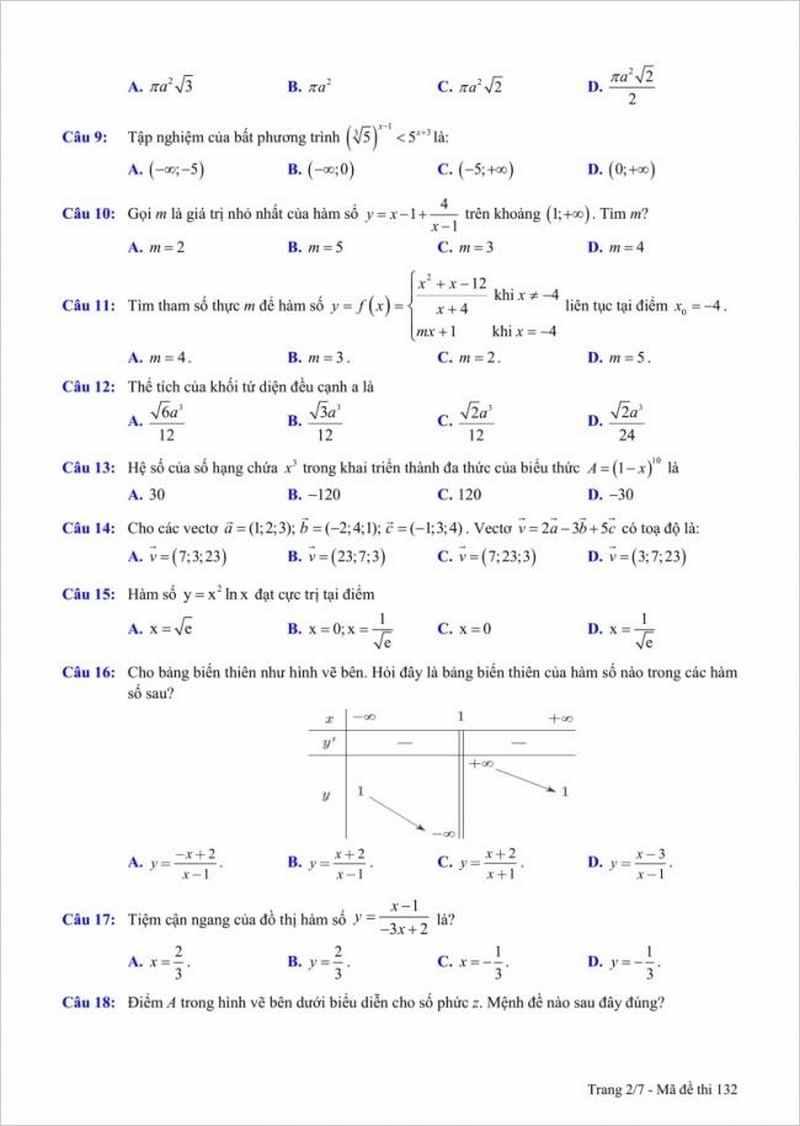 Đề thi thử THPT môn Toán trường Chuyên Thái Bình lần 5 – 2018