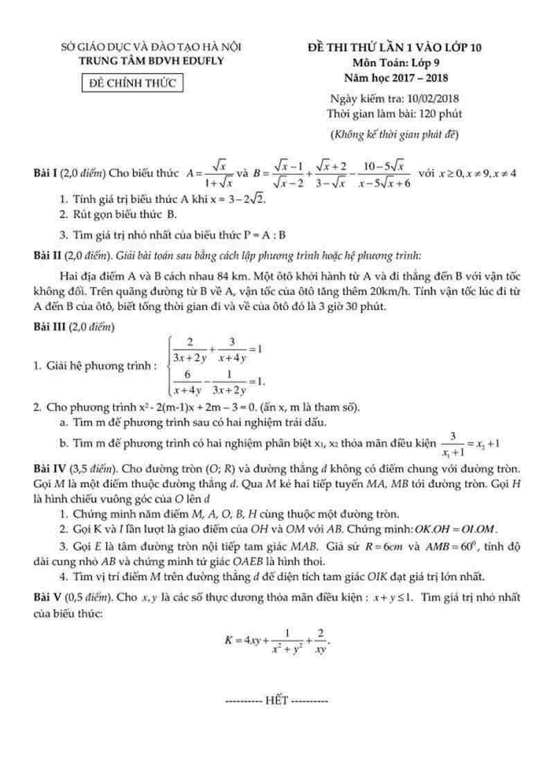 Đề thi thử vào lớp 10 môn toán lần 1 năm 2018 - trung tâm BDVH Edufly