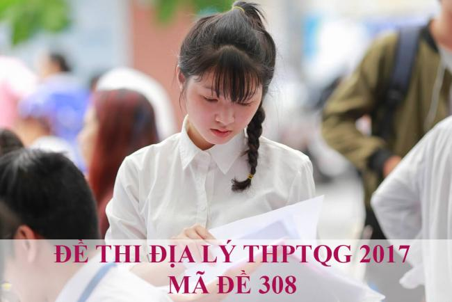 thí sinh làm bài thi môn địa kỳ thi THPTQG năm 2017