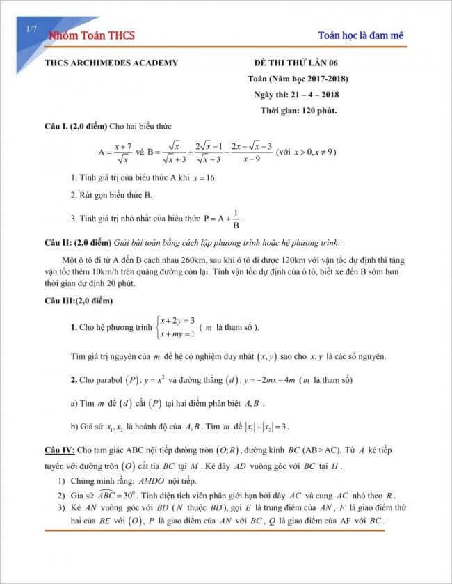 Đề thi thử môn toán vào lớp 10 năm 2018 trường Archimedes Academy
