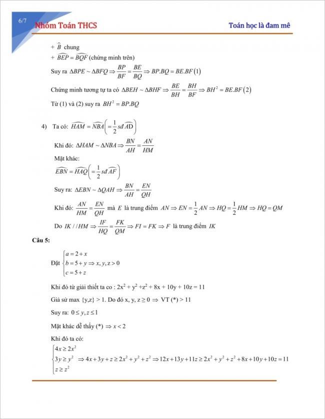 Đáp án đề thi thử môn toán vào lớp 10 năm 2018 trường Archimedes Academy