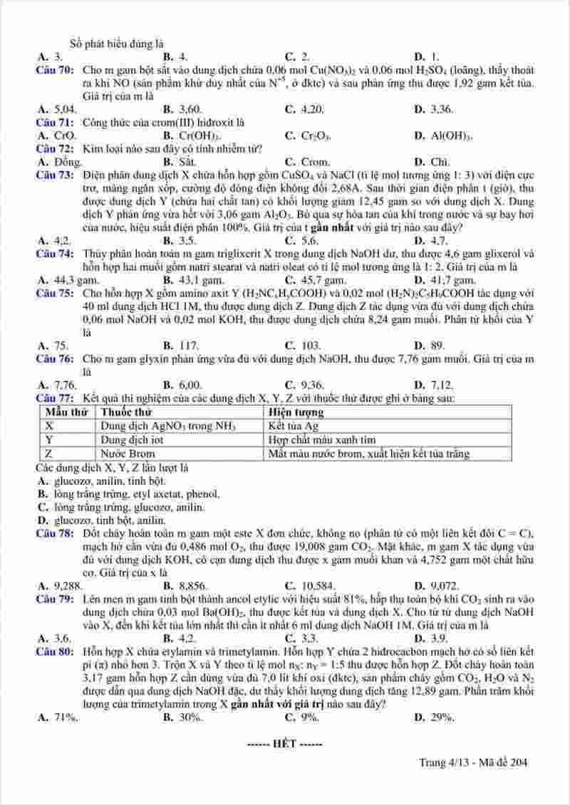đề thi thử môn hóa THPTQG tỉnh Bắc Ninh lần 2 năm 2018 (4)