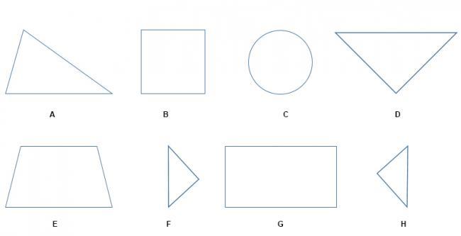 Bài 1 trang 10 SGK toán lớp 1 Tô màu vào hình tam giác