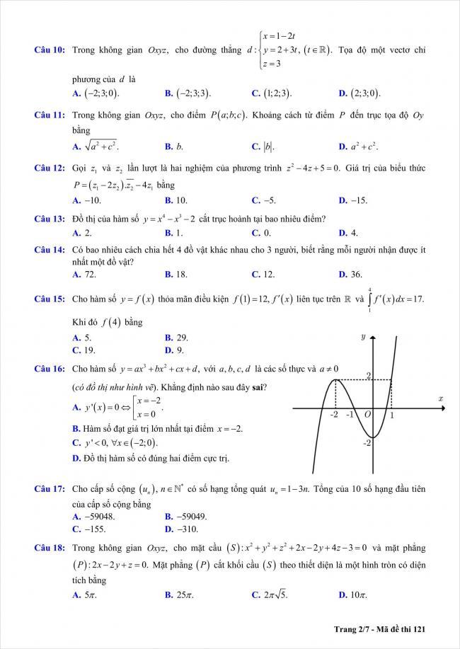 đề toán thi thử THPT Chu Văn An, Hà Nội năm 2018 (2)