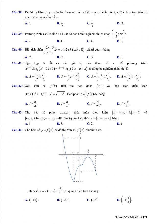 đề toán thi thử THPT Chu Văn An, Hà Nội năm 2018 (5)