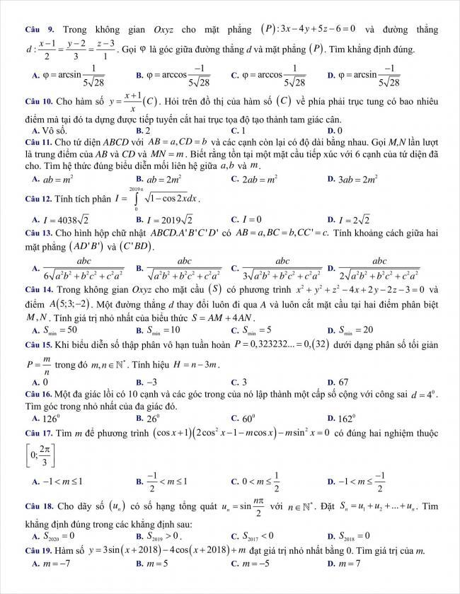 đề toán thi thử THPT chuyên Hùng Vương, Bình Dương năm 2018 (2)