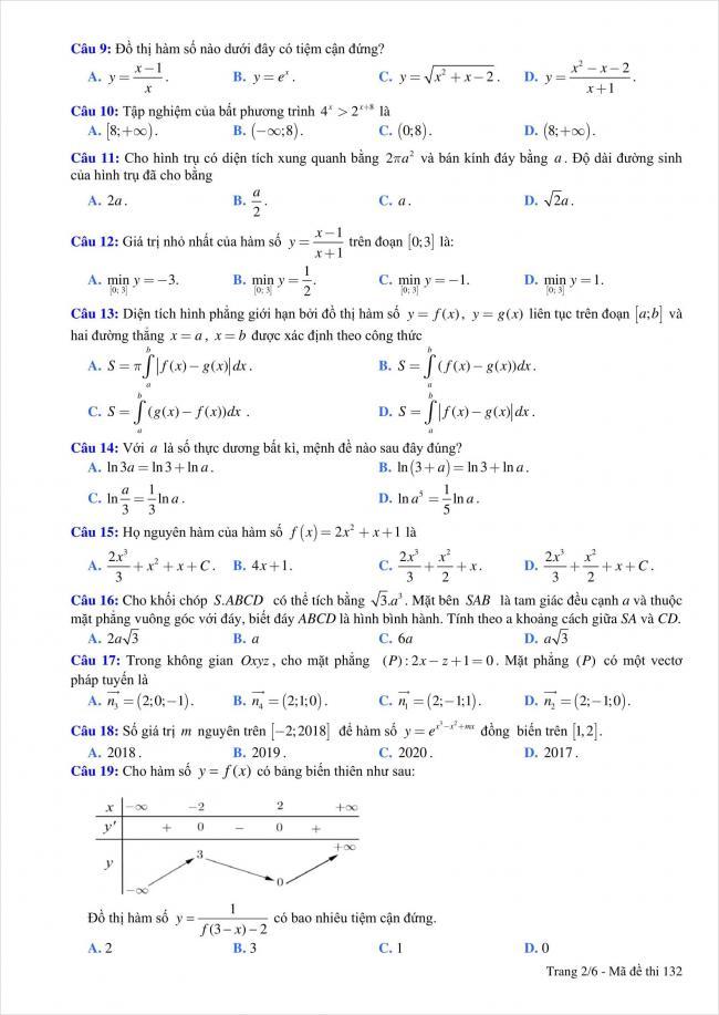 đề thi thử môn toán THPT Quỳnh Lưu 1, Nghệ An năm 2018 (2)