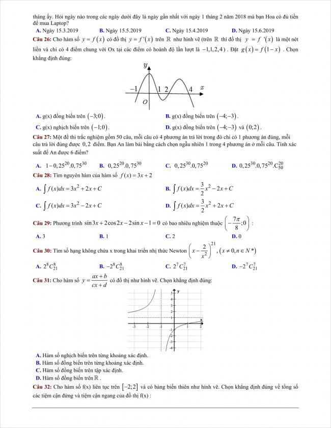 đề thi thử môn toán THPT Bình Giang năm 2018 (5)