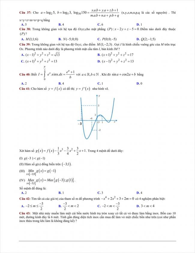 đề thi thử môn toán THPT Bình Giang năm 2018 (7)