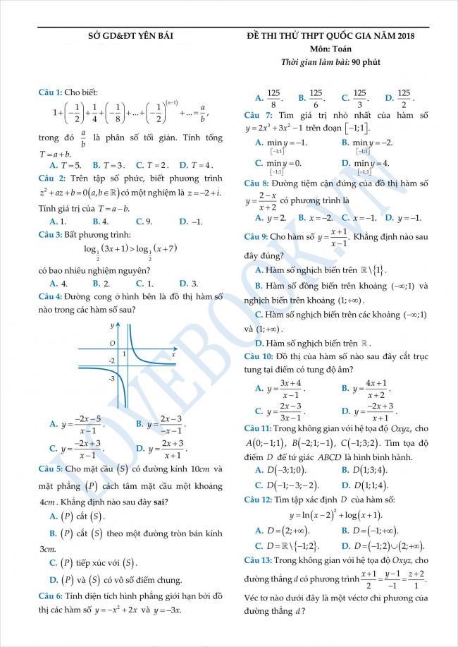 đề thi thử toán THPT tỉnh Yên Bái năm 2018 (1)