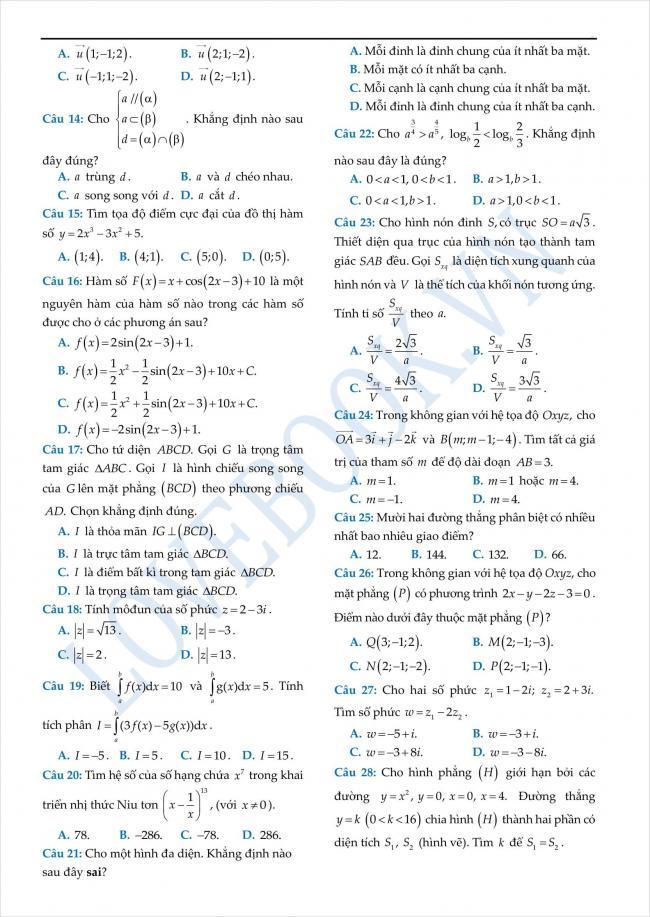 đề thi thử toán THPT tỉnh Yên Bái năm 2018 (2)