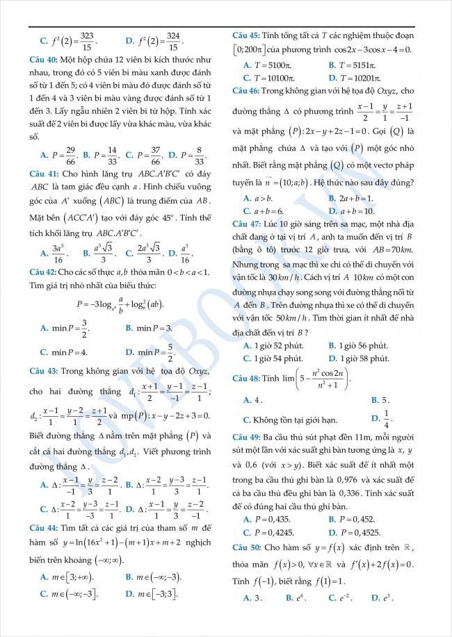 đề thi thử toán THPT tỉnh Yên Bái năm 2018 (4)