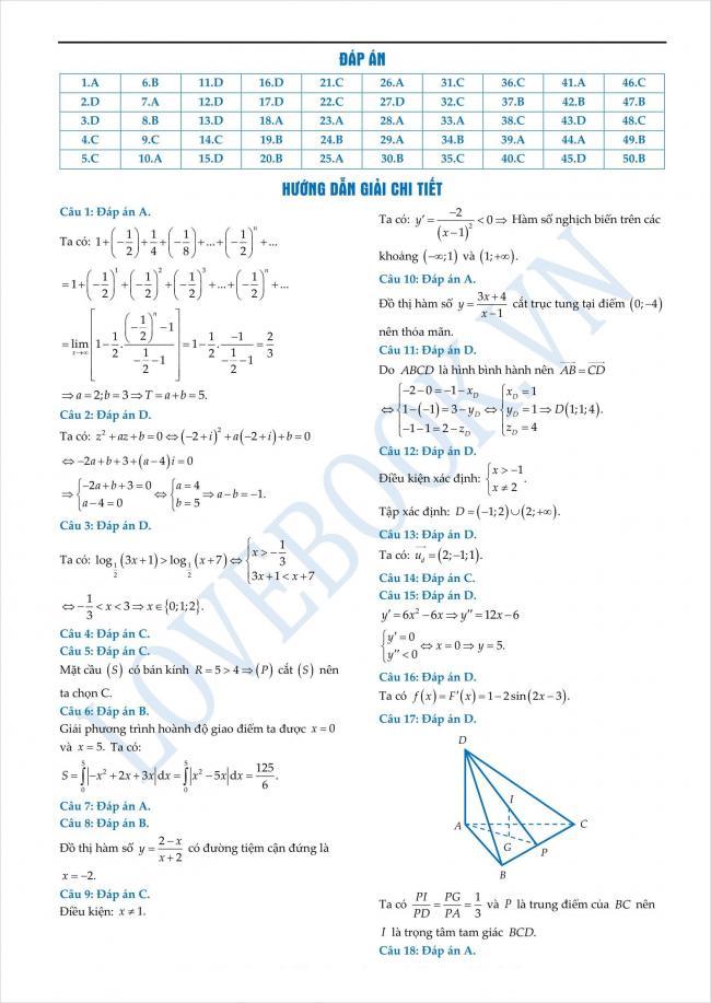 đáp án đề thi thử toán THPT tỉnh Yên Bái năm 2018 (1)