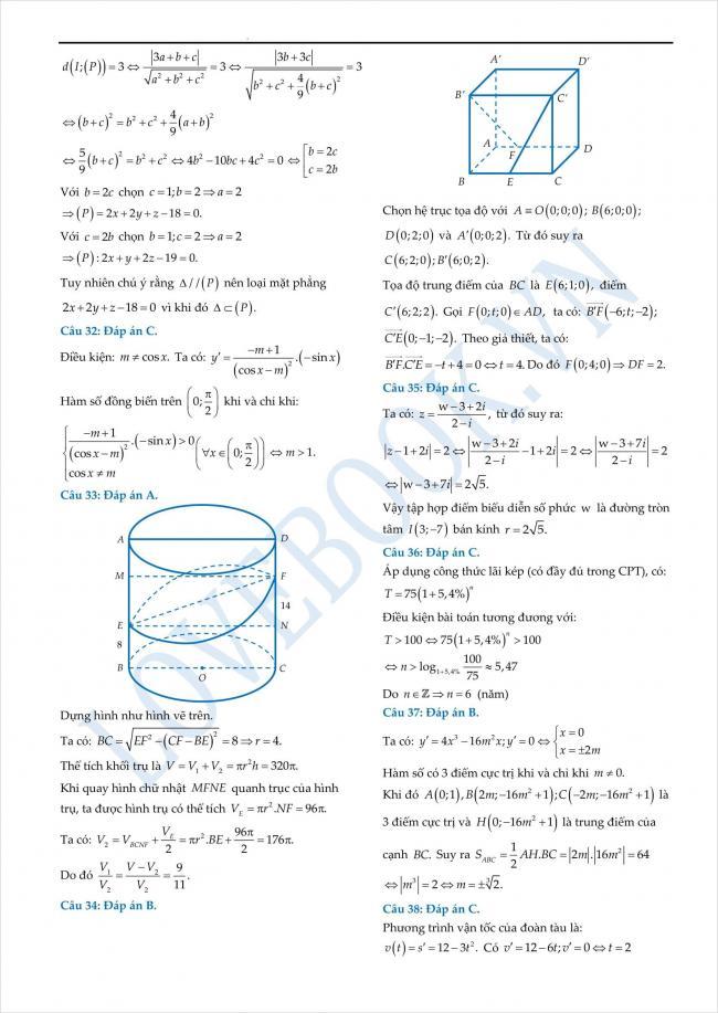 đáp án đề thi thử toán THPT tỉnh Yên Bái năm 2018 (3)